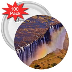 WATERFALL AFRICA ZAMBIA 3  Buttons (100 pack)