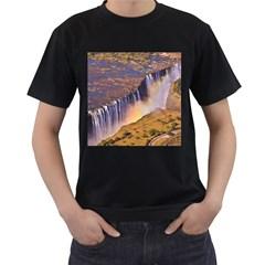 WATERFALL AFRICA ZAMBIA Men s T-Shirt (Black) (Two Sided)