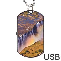 Waterfall Africa Zambia Dog Tag Usb Flash (two Sides)