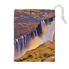 WATERFALL AFRICA ZAMBIA Drawstring Pouches (Extra Large)