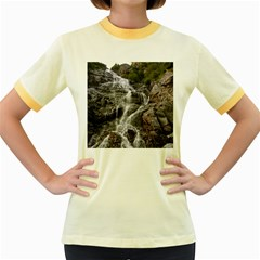 Mountain Waterfall Women s Fitted Ringer T Shirts