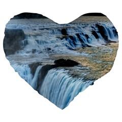 Gullfoss Waterfalls 2 Large 19  Premium Flano Heart Shape Cushions