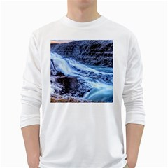 GULLFOSS WATERFALLS 1 White Long Sleeve T-Shirts