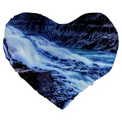GULLFOSS WATERFALLS 1 Large 19  Premium Heart Shape Cushions