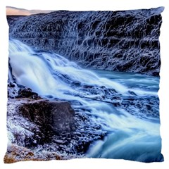 Gullfoss Waterfalls 1 Large Flano Cushion Cases (two Sides)
