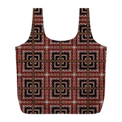 Check Ornate Pattern Full Print Recycle Bags (L)