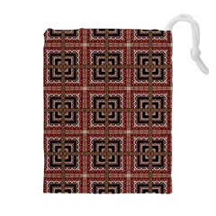 Check Ornate Pattern Drawstring Pouches (Extra Large)