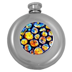 Woodpile Abstract Round Hip Flask (5 oz)