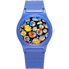 Woodpile Abstract Round Plastic Sport Watch (S)