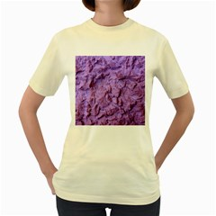 Purple Wall Background Women s Yellow T-Shirt