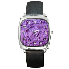 Purple Wall Background Square Metal Watches
