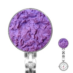 Purple Wall Background Stainless Steel Nurses Watches