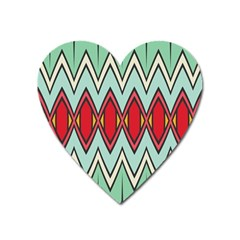 Rhombus and chevrons patternMagnet (Heart)