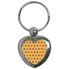Colorful stars patternKey Chain (Heart)