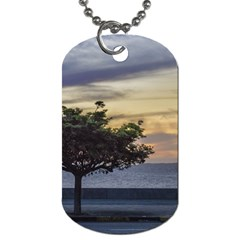 Sunset Scene at Boardwalk in Montevideo Uruguay Dog Tag (Two Sides)
