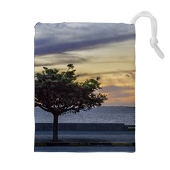 Sunset Scene at Boardwalk in Montevideo Uruguay Drawstring Pouches (Extra Large)