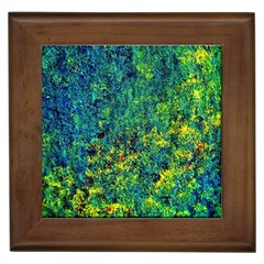 Flowers Abstract Yellow Green Framed Tiles