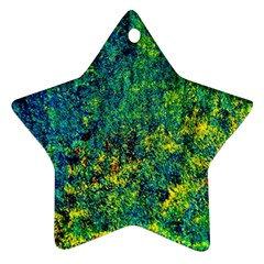 Flowers Abstract Yellow Green Ornament (Star)