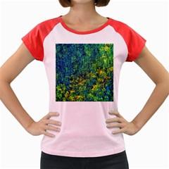 Flowers Abstract Yellow Green Women s Cap Sleeve T-Shirt