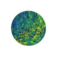 Flowers Abstract Yellow Green Magnet 3  (Round)