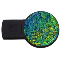 Flowers Abstract Yellow Green USB Flash Drive Round (2 GB)