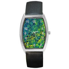 Flowers Abstract Yellow Green Barrel Metal Watches