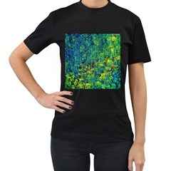 Flowers Abstract Yellow Green Women s T-Shirt (Black) (Two Sided)