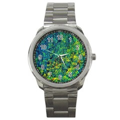 Flowers Abstract Yellow Green Sport Metal Watches