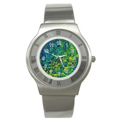Flowers Abstract Yellow Green Stainless Steel Watches