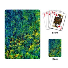 Flowers Abstract Yellow Green Playing Card