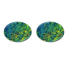 Flowers Abstract Yellow Green Cufflinks (Oval)