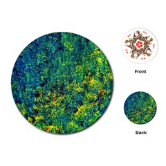 Flowers Abstract Yellow Green Playing Cards (Round)
