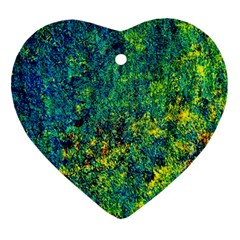 Flowers Abstract Yellow Green Heart Ornament (2 Sides)