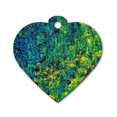 Flowers Abstract Yellow Green Dog Tag Heart (Two Sides)