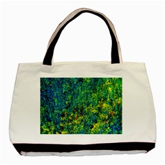 Flowers Abstract Yellow Green Basic Tote Bag (Two Sides)