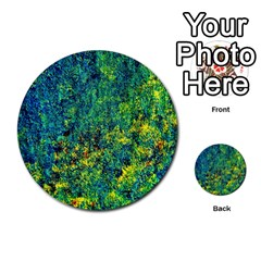 Flowers Abstract Yellow Green Multi Purpose Cards (round)