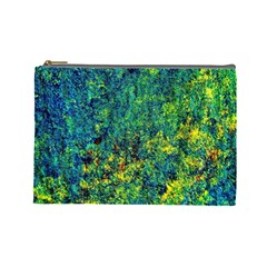 Flowers Abstract Yellow Green Cosmetic Bag (Large)