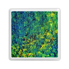 Flowers Abstract Yellow Green Memory Card Reader (Square)