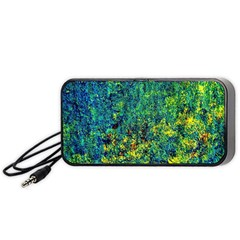 Flowers Abstract Yellow Green Portable Speaker (black)