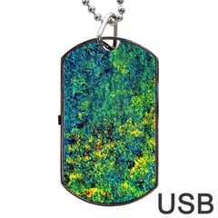 Flowers Abstract Yellow Green Dog Tag Usb Flash (one Side)