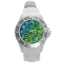 Flowers Abstract Yellow Green Round Plastic Sport Watch (L)