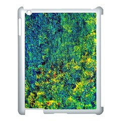 Flowers Abstract Yellow Green Apple iPad 3/4 Case (White)