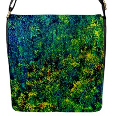 Flowers Abstract Yellow Green Flap Messenger Bag (S)