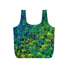 Flowers Abstract Yellow Green Full Print Recycle Bags (S)