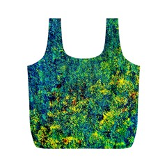 Flowers Abstract Yellow Green Full Print Recycle Bags (M)