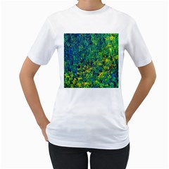 Flowers Abstract Yellow Green Women s T-Shirt (White)