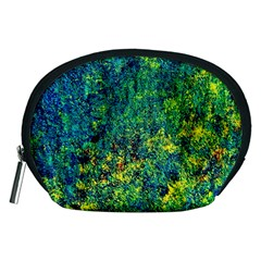Flowers Abstract Yellow Green Accessory Pouches (Medium)