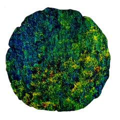 Flowers Abstract Yellow Green Large 18  Premium Flano Round Cushions