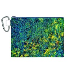Flowers Abstract Yellow Green Canvas Cosmetic Bag (XL)