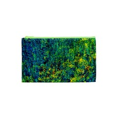 Flowers Abstract Yellow Green Cosmetic Bag (XS)
